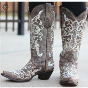Corral tobacco silver cross boots